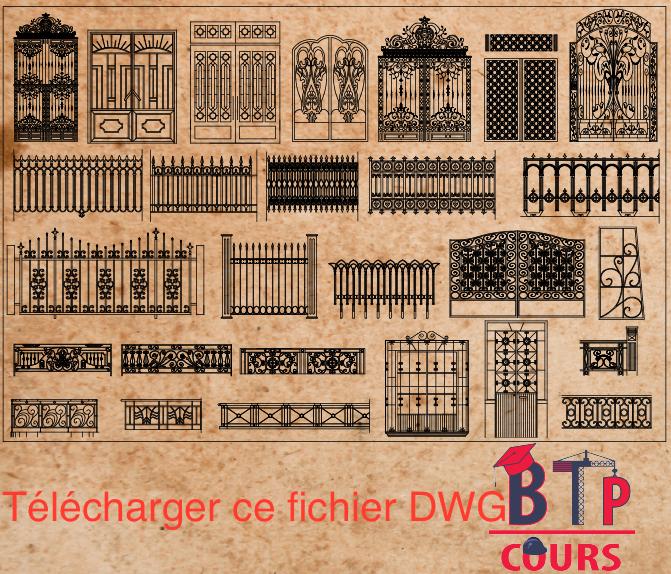 Belle Ressource AutoCAD - N 001 - Bibliothèque de Ferronnerie [DWG OJ-82