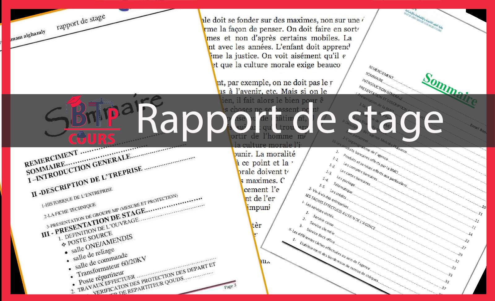 10 Exemple De Rapport De Stage Mémoire De Fin D étude